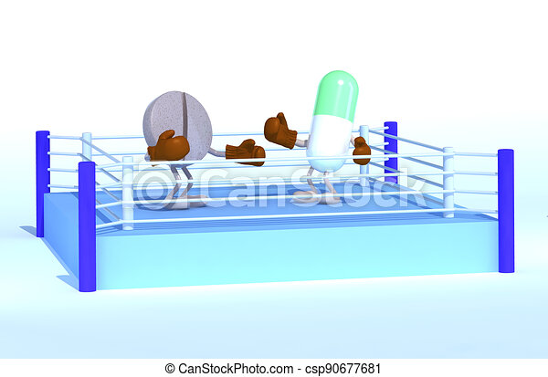 boxe ring with two pills that are fighting - csp90677681