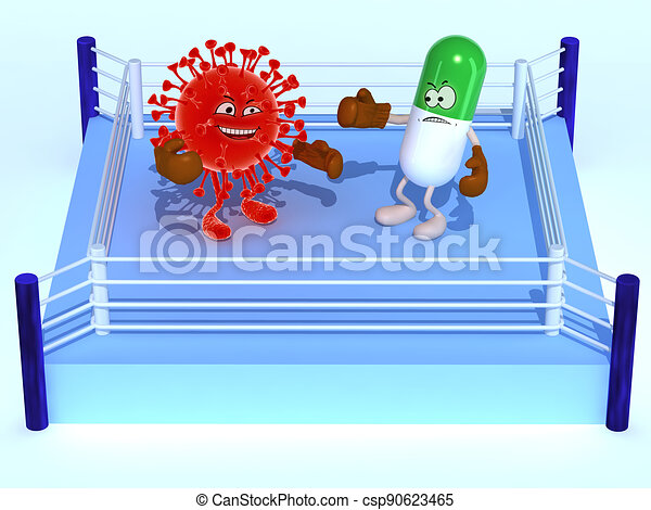 boxe ring with virus and pill that are fighting - csp90623465