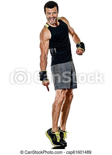 boxen, freigestellt, fitness, übungen, cardio, mann - csp61601489