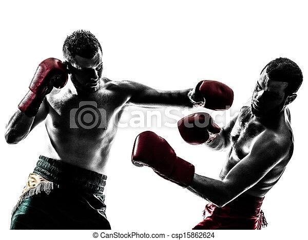 boxen, silhouette, maenner, trainieren, zwei, thailändisch - csp15862624