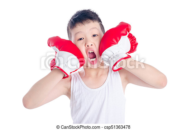 boxer boy over white background - csp51363478