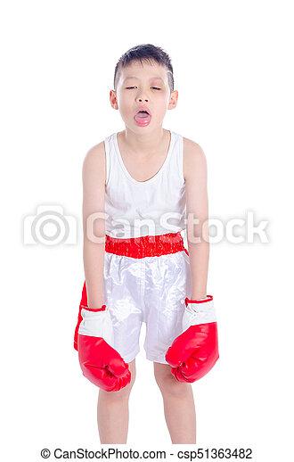 boxer boy over white background - csp51363482