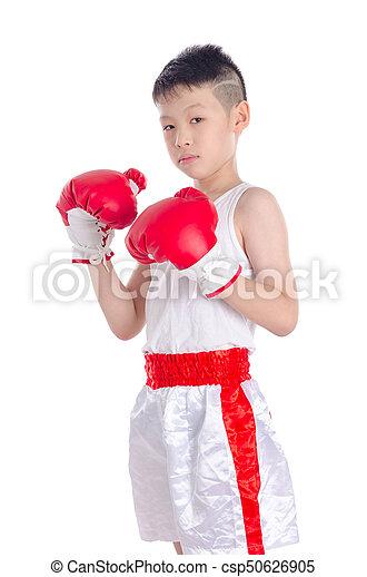 boxer boy over white background - csp50626905