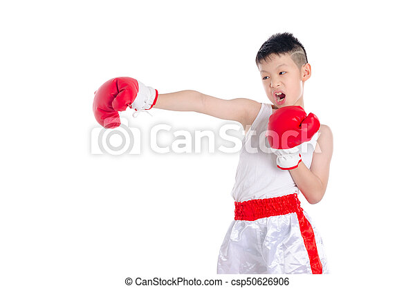 boxer boy punching over white background - csp50626906