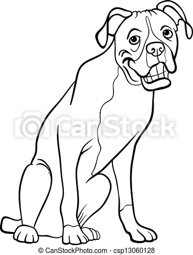 boxer for coloring book black and white