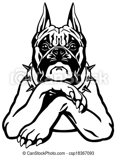 boxer dog cartoon boxer dog black and white front view