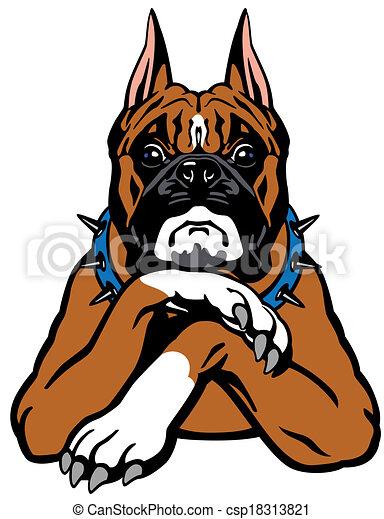 boxer dog dog boxer breed front view illustration vector rh canstockphoto com boxer dog cartoon images boxer dog cartoon image