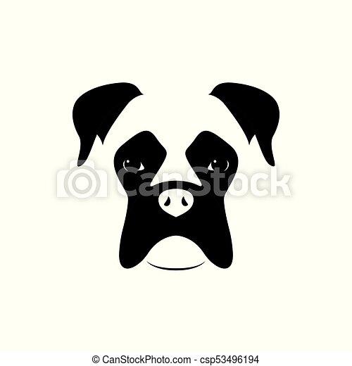 boxer dog muzzle black and white vector illustration eps vectors rh canstockphoto com Boxer Dog Face Clip Art Boxer Dog Silhouette Clip Art