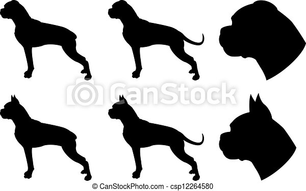 boxer silhouettes boxers dog in different version head shapes are rh canstockphoto com boxer dog clipart Boxer Dog Face Clip Art