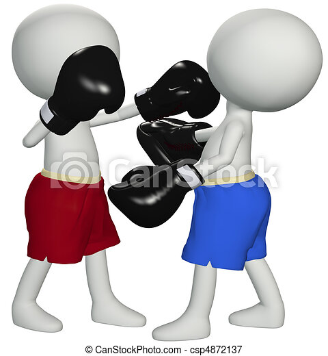 Boxers punch knockout in 3D boxing fight - csp4872137