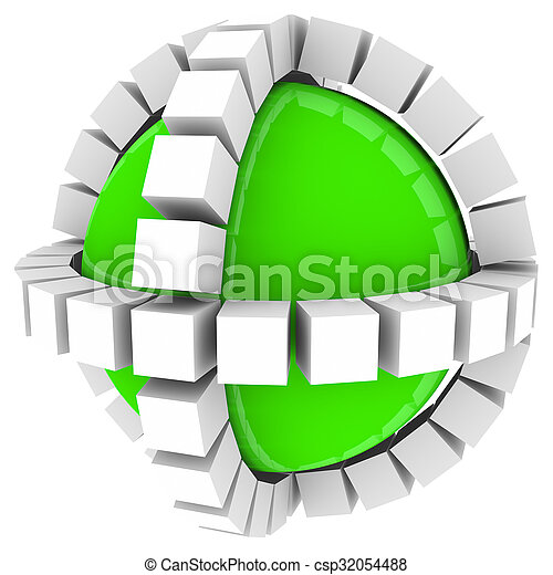 Boxes Cubes Surrounding Green Sphere Circle Around Process System - csp32054488
