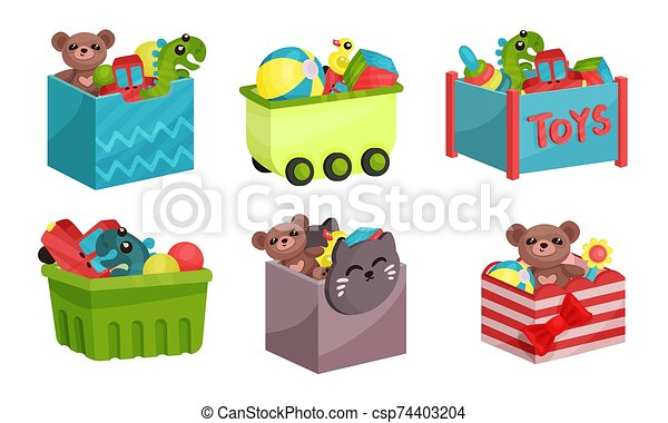 Boxes Full of Children Toys Vector Illustrated Set. - csp74403204