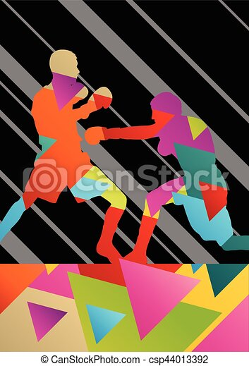 Boxing active young men box sport silhouettes vector abstract background - csp44013392