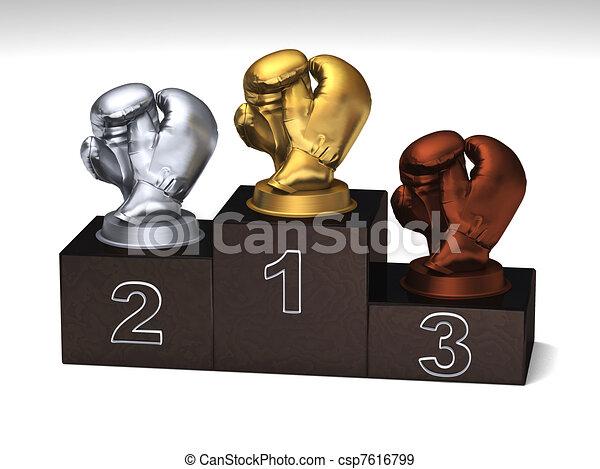 Boxing dark wood podium - csp7616799