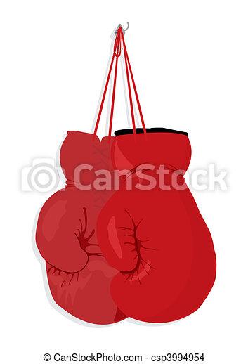 Boxing gloves hang on a nail. A vector illustration - csp3994954