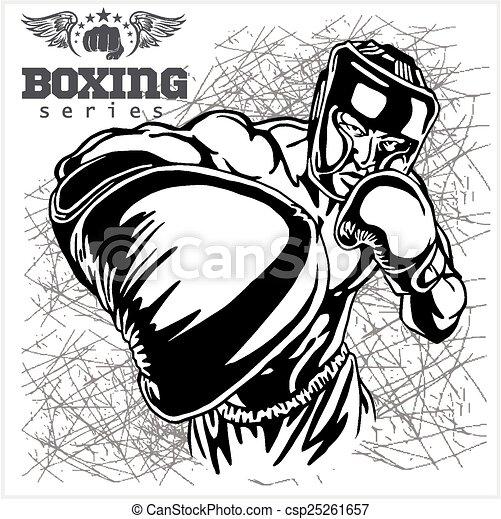 Boxing Match - Retro Illustration on grunge background - csp25261657