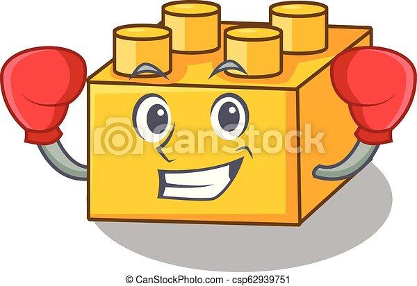 Boxing plastic building blocks cartoon on toy - csp62939751