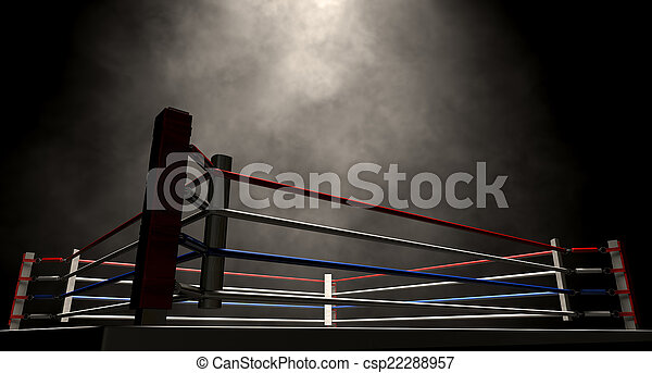 Boxing Ring Spotlit Dark - csp22288957