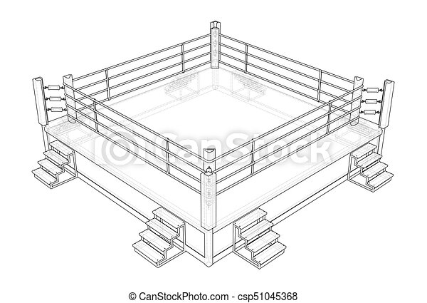 Boxing ring vector rendering of 3d wire frame style the layers of boxing ring vector ccuart Images