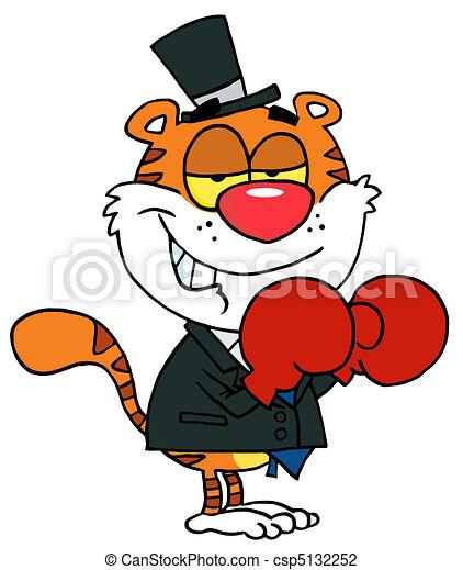 Boxing Tiger Wearing Red Gloves - csp5132252