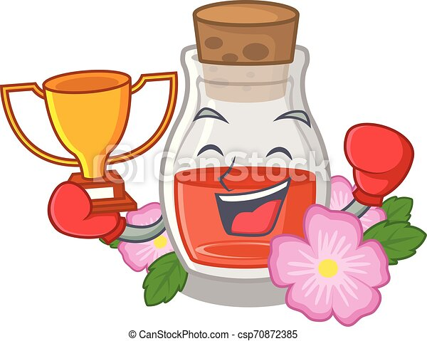 Boxing winner rosehip seed oil on a mascot - csp70872385