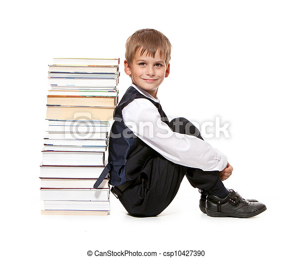 Boy and books. Back to school - csp10427390