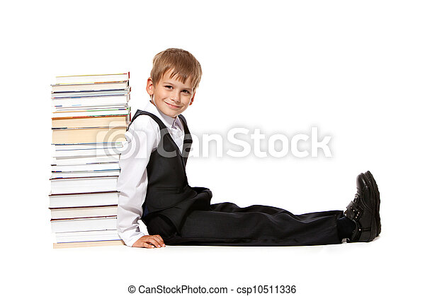 Boy and books. Back to school - csp10511336