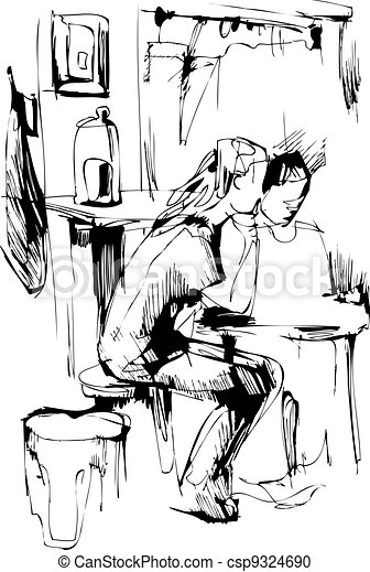 boy and girl at the table in the kitchen - csp9324690