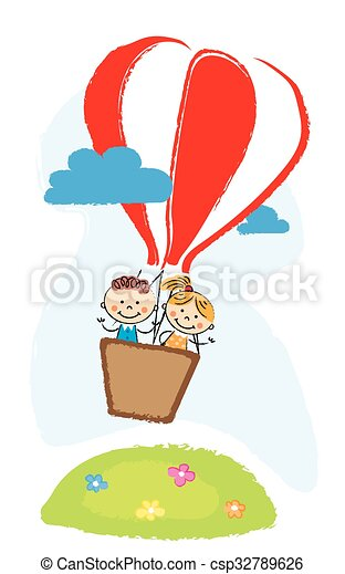 boy and girl aveling by hot air balloon - csp32789626