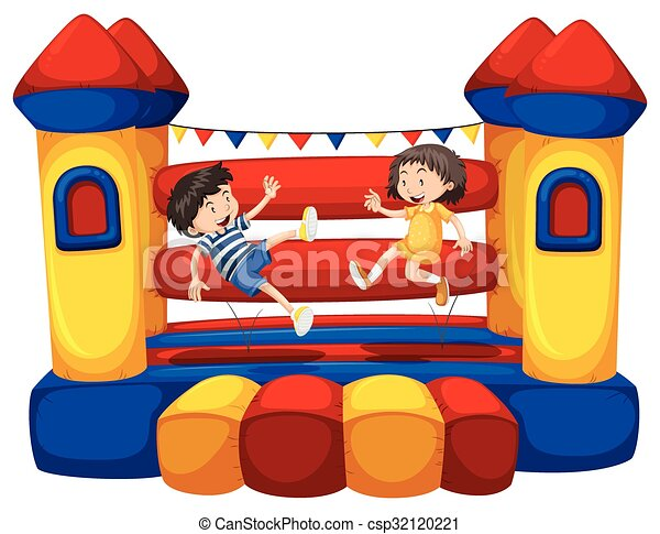 Boy and girl bouncing on the funhouse - csp32120221