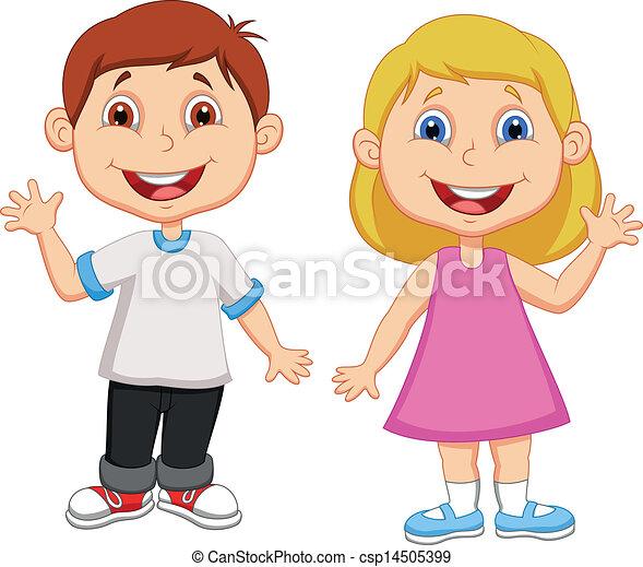 Boy and girl cartoon waving hand - csp14505399
