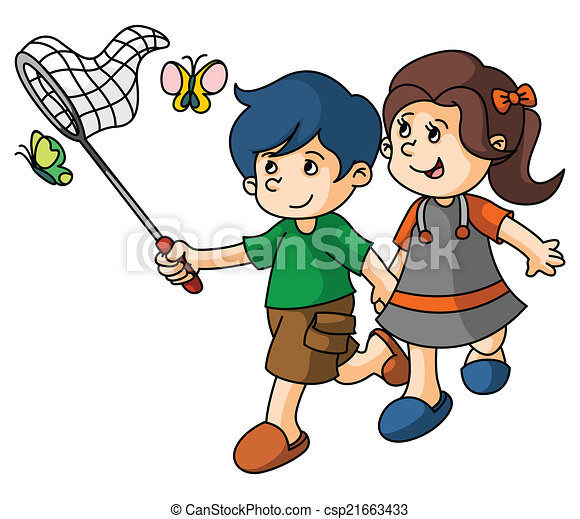 Boy and Girl catch butterfly - csp21663433