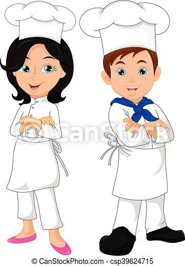 boy and girl chef cartoon - csp39624715