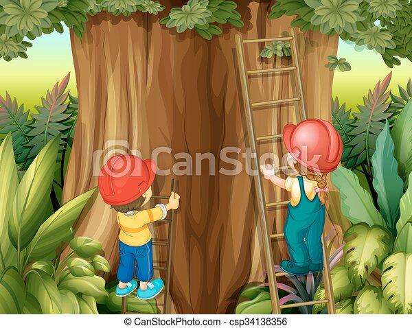 Boy And Girl Climbing Ladder Up The Tree Illustration