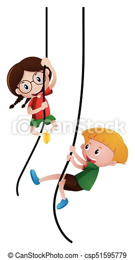 boy and girl climbing rope illustration vectors illustration rh canstockphoto com