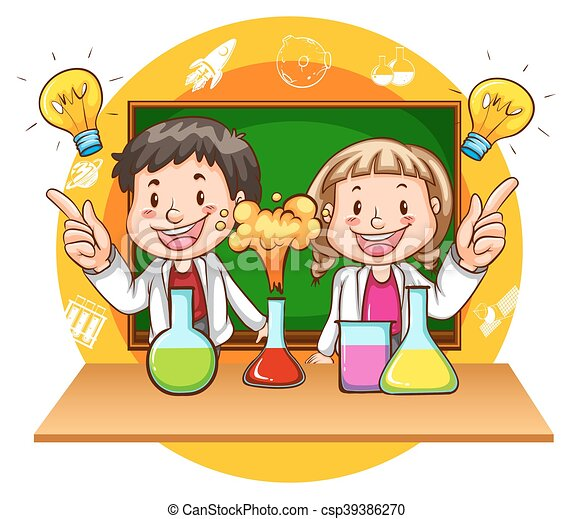 boy and girl doing science experiment illustration vectors rh canstockphoto com science experiment clipart Cartoon Science Clip Art