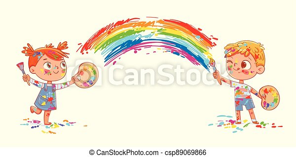 Boy and girl draw a rainbow together - csp89069866