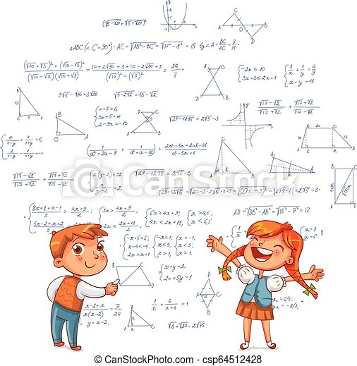 Boy And Girl Draw Geometric Shapes On A School Board Kids Drawing