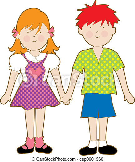 cute young boy and girl holding hands stock illustration search rh canstockphoto com
