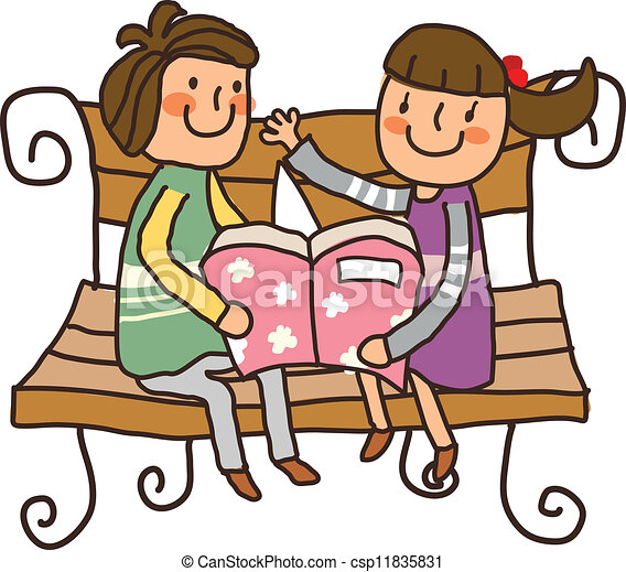 boy and girl reading book on bench vectors search clip art rh canstockphoto com girl reading book clipart girl reading book clipart