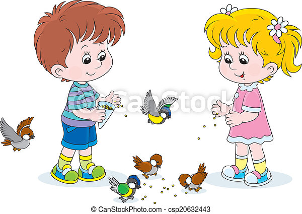 boy and girl feeding birds vector - Small Drawings For Kids