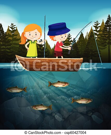 Boy and girl fishing in the lake - csp60427004