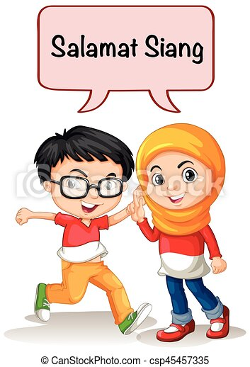 Boy and girl greeting in indonesian language illustration boy and girl greeting in indonesian language csp45457335 m4hsunfo