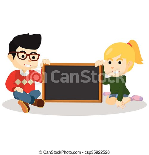 Boy and girl holding black board - csp35922528