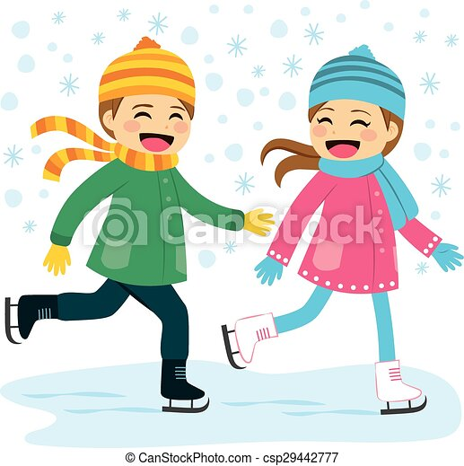 boy and girl ice skating cute boy and girl wearing warm winter rh canstockphoto com
