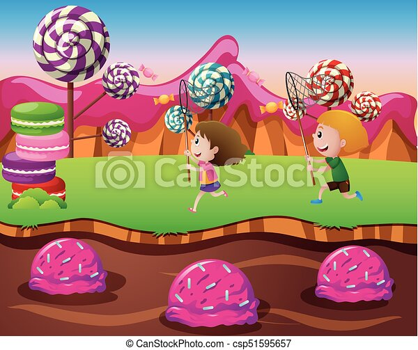 boy and girl in candy land illustration clipart vector search rh canstockphoto ca candyland clipart free candyland castle clipart