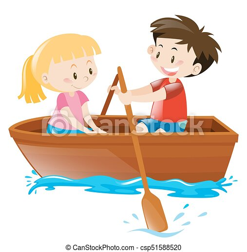 boy and girl in rowboat illustration rh canstockphoto com row boat clipart black and white row boat clipart free