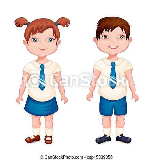 Boy and girl in school uniform  - csp15339358