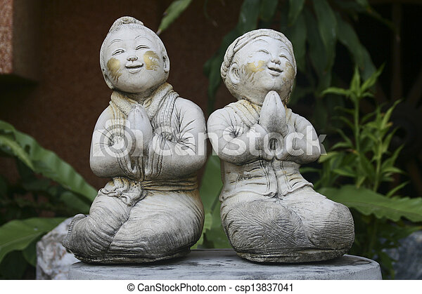 Boy and girl in thai culture greeting we call wai and say boy and girl in thai culture greeting csp13837041 m4hsunfo