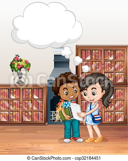 Boy and girl in the library - csp32184451
